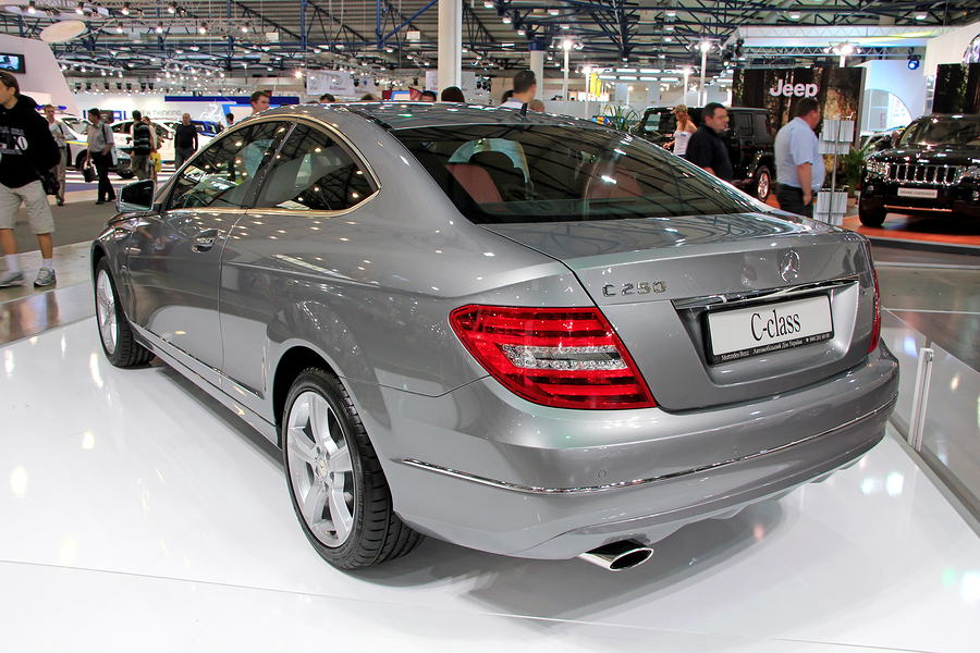 "KIEV - SEPTEMBER 10: Mercedes-Benz C-class (C 250) at yearly automotive-show ""Capital auto show 2011"". September 10, 2011 in Kiev, Ukraine."
