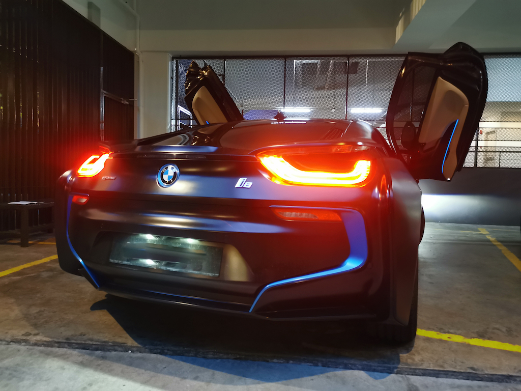 BMW i8 Back View With Wing doors opened
